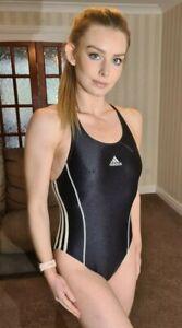 """Classic Black White Shiny Adidas Lycra Spandex Swimsuit Swim Costume S UK 8 32"""""""
