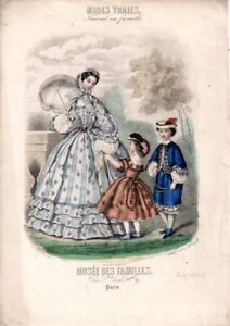 GRAVURE ANCIENNE MODES VRAIES * MUSEE DES FAMILLES ANNEE JUIN 1861