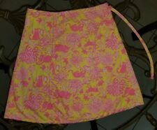 Vintage The Minnie Lilly Pulitzer Wrap Skirt pink Yellow Cat floral kid 14 1960s