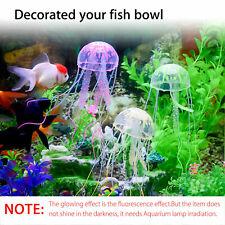 New listing 4x/set Aquarium Jellyfish Silicone Glowing Effect Fish Tank Artificial Ornament
