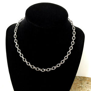 8mm x 6mm x 1.6mm Silver Color Stainless Steel Cable Chain Necklace Jewelry