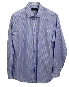 Polo Ralph Lauren Mens 16 34/35 Blue Striped Long Sleeve Button Down Shirt