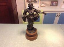 """Ancienne statue en zamac,zinguale 45 cm la porteuse de raisins """"T"""""""