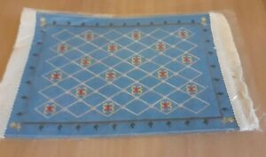 1/2th Dolls House Blue Rug Tassles 25cm x 15cm