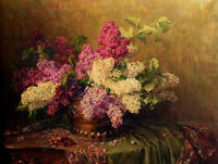Dream-art Oil painting beautiful still life spring flowers in copper vase canvas