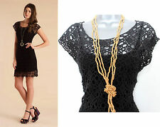 MONSOON Elm Beautiful Black Lace Crochet Knitted Dress SMALL  Casual Formal £75