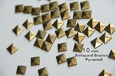 100pcs 10mm Bronze  Pyramid Flat Back Studs Hotfix  Iron On Glue on - Flatback