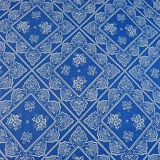 "Vintage Cotton Fabric, White Lace ""Doily"" Print on Blue, Per Yd by Cranston USA"
