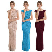 Angel-fashions Women's Evening Dress Cap Sleeves Sequin Long Bodycon Formal 378