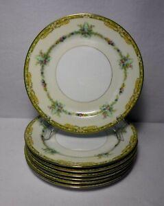 "NORITAKE china N1214 FLOWERS with GREEN & YELLOW EDGE Set 7 Dinner Plates 9-7/8"""