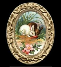 Victorian Easter Bunny Miniature Dollhouse Rabbit Art Picture