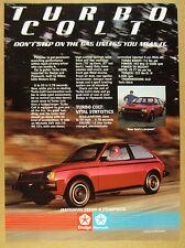 1983 Dodge Plymouth Mitsubishi TURBO COLT car photo vintage print Ad