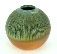Vintage TOYO Japan Ikebana Vase Round Pebbled Textured Green Orange Orb MCM 7""