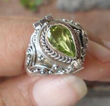 925 Sterling Silver Poison Box Ring Teardrop Peridot Size 7