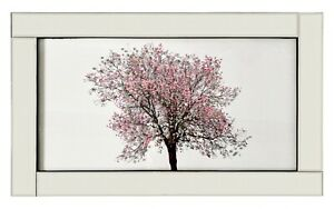 EXTRA LARGE Wall Picture In Mirrored Frame Pink Cherry Blossom Tree w 3D Glitter