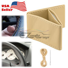 Beige Flat PVC Leather DIY Car Steering Wheel Cover With Needles and Thread