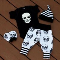 3pcs Newborn Infant Baby Boys Romper Jumpsuit Bodysuit+Pants Clothes Outfits Set