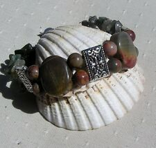 "Picasso Jasper & Green Quartz Gemstone Chunky Cuff Bracelet ""Green Venetian"""