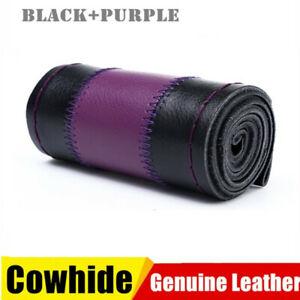 DIY Purple 38cm Genuine Leather Car Auto Steering Wheel Cover Neddle Thread