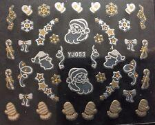 Accessoire ongles : nail art , Stickers noël : moufle et père noël blanc et doré