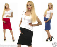 Top Woman Maternity Pencil Skirt Over Bump Pregnancy Clothes Size 10-18