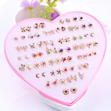 1~36 Pairs Fashion Women Girls Crystal Diamante Flower Stud Earrings Jewelry Set
