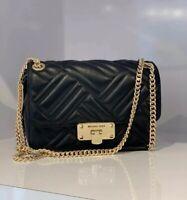 NWT Michael Kors Peyton Medium Quilted Leather MD Shoulder Flap Bag Black/Gold