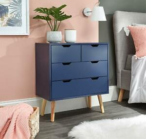 NYBORG CHEST OF DRAWERS TABLE DRESSER 4 DRAWER CABINET BEDROOM NIGHTSHADOW BLUE