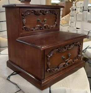 Heavily Carved Bed Step with Storage Drawers - Solid Mahogany