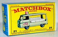 Matchbox Lesney No 21 COMMER BOTTLE FLOAT Repro Empty style E Box