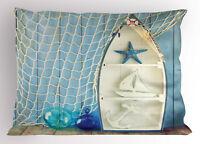 Nautical Pillow Sham Marine Icons Starfish King Size Pillowcase 36 x 20 Inches