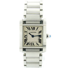 CARTIER TANK FRANCAISE LADIES 2384 WHITE DIAL 25MM STAINLESS STEEL EXCLNT COND
