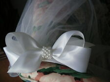 First Communion White Satin Bow with Pearl Center w/Sewn Edge Headband Veil