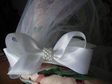 First Communion White Satin Bow with Pearl Center w/Sewn Edge Headband Veil