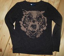 Top Pullover Marie Lund Copenhagen braun mit beigem Tigerkopf Gr S 36