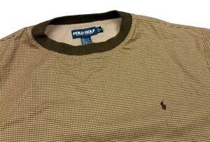 Polo Ralph Lauren Golf Brown Houndstooth Check Pullover Windbreaker Jacket XL