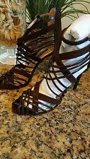 "Ralph Lauren Womens Purple Label Bliara Brown Suede Caged Sandal 4"" Italy Sz 38"