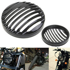 CNC Black Round Headlight Grill Cover For Harley Honda Suzuki Yamaha Kawasaki
