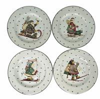 "Sakura Debbie Mumm Sledding Characters Christmas 8.25"" Salad Plates Set of 4"
