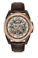 Bulova Men's Automatic Skeleton Dial Exhibition Case Back 43mm Watch 98A165