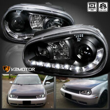 For 1999-2006 VW Golf MK4 LED DRL Strip Black Projector Headlights Pair