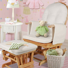 Glider Baby Breast Feeding Sliding Rocking Chair with Ottoman Natural Wood