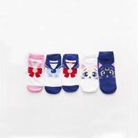 5 Pairs Sailor Moon Socks Luna Artemis Cats Low Cut Women Cotton Blend Cute Sock