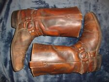 vintage motorcycle boots Rodeo Cowboy harness engineer distressed leather sz 11D