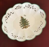 SPODE Christmas Tree Pierced Oval Fluted Bowl