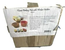 SET 0F 8 FLOWER BAKING POTS WITH WICKER HOLDERS NEW IN THE BOX