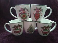Christopher Radko HOLIDAY CELEBRATIONS Green Trim Mugs - Set/5 - FREE U.S. SHIP