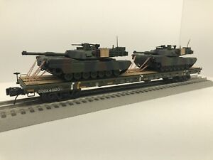 MTH Premier 60' Flat Car With 2 ARMY M1A1 Abrams Green Tanks Chained O Scale