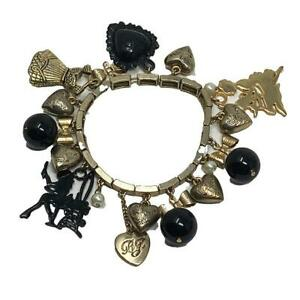 Betsey Johnson Charm Bracelet ~Rocker Chic~ 90's/Y2K   Black Gold-Tone   Elastic