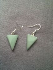 A NATURAL AVENTURINE TRIANGLE  GEMSTONE EARRINGS GIFT/BIRTHDAY/CHRISTMAS PRESENT